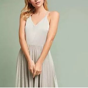 Anthropologie Elevenses Silver Lunar Dress Size 10